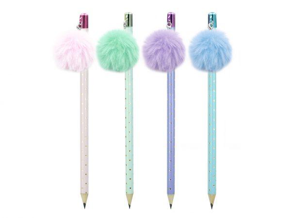 1 Fluffy Ponpom Charm Pencil2